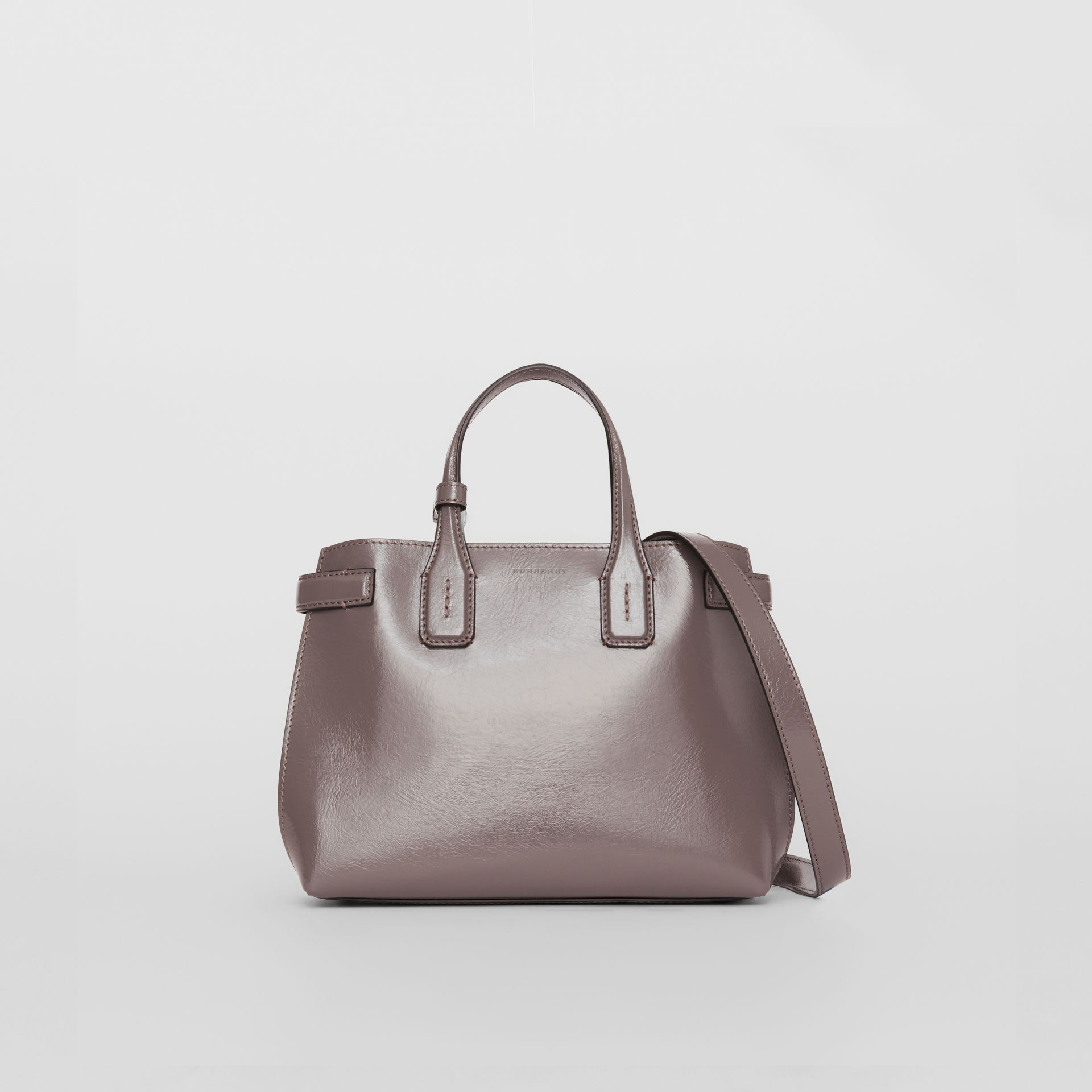 The Small Soft Leather Banner in Sepia Grey - Women | Burberry - gallery image 4