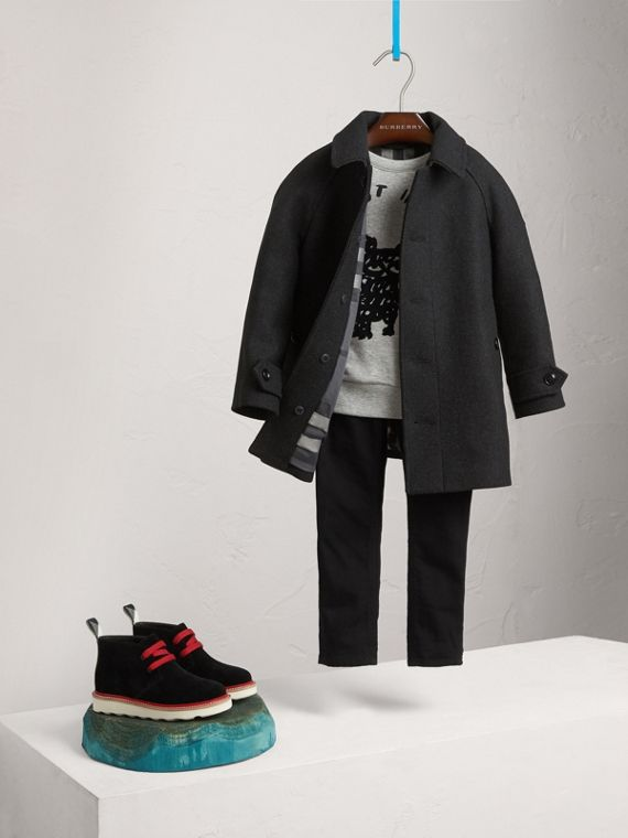 Wool Cashmere Blend Car Coat in Dark Grey Melange - Boy | Burberry Singapore - cell image 2