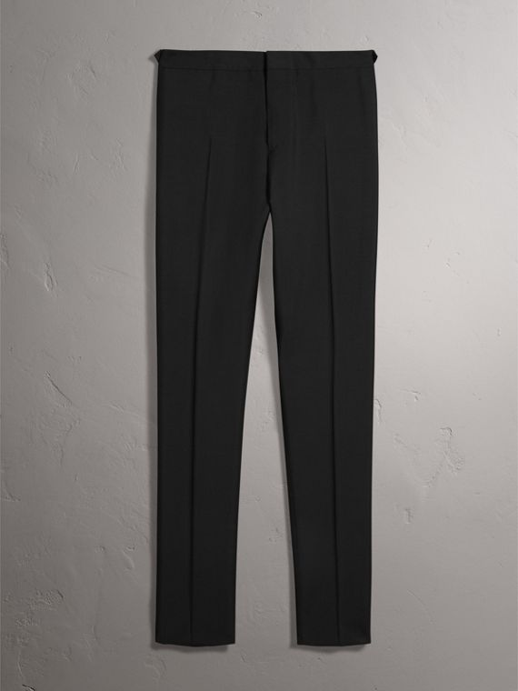 Slim Fit Wool Mohair Evening Trousers in Black - Men | Burberry Singapore - cell image 3