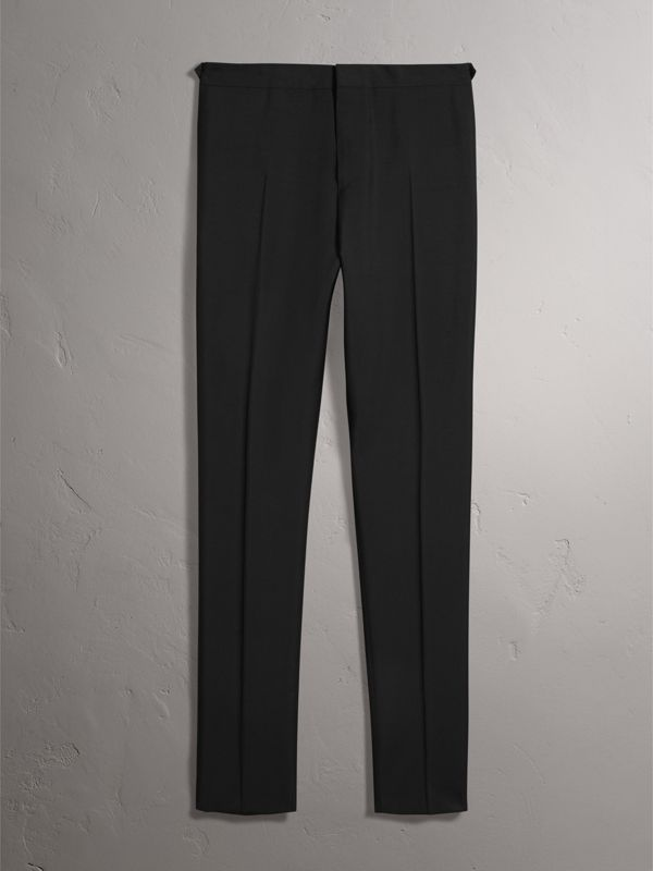 Slim Fit Wool Mohair Evening Trousers in Black - Men | Burberry Canada - cell image 3
