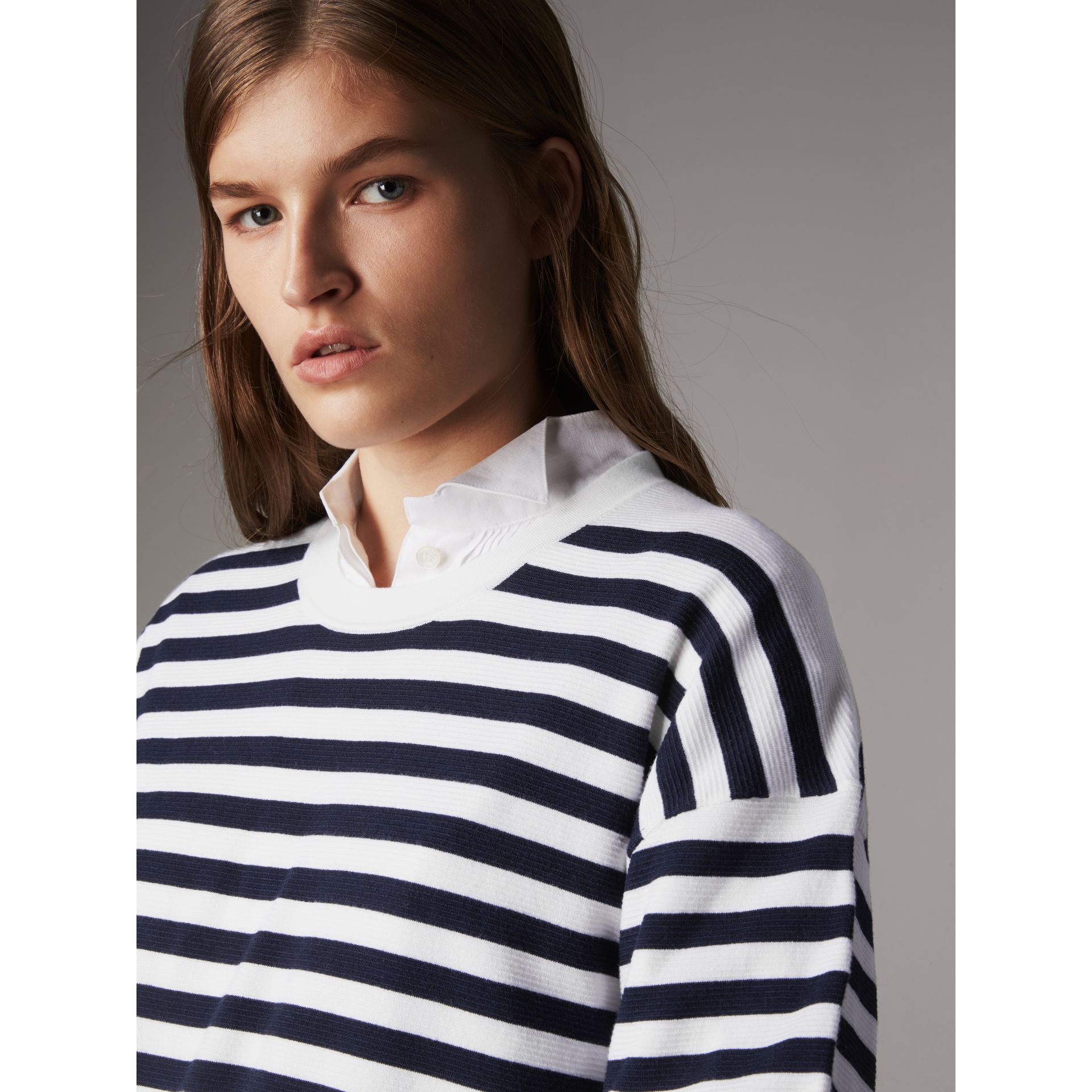 Breton Stripe Merino Wool Silk Blend Top in Navy - Women | Burberry - gallery image 2