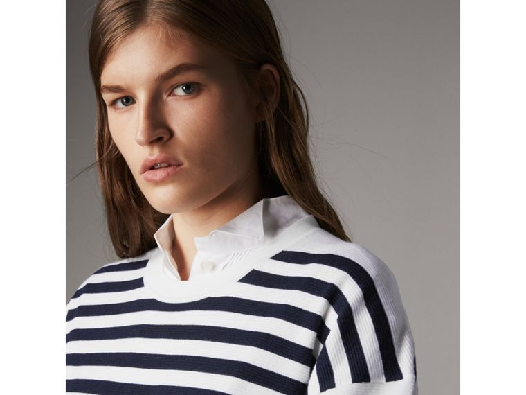 Breton Stripe Merino Wool Silk Blend Top in Navy - Women | Burberry - cell image 1