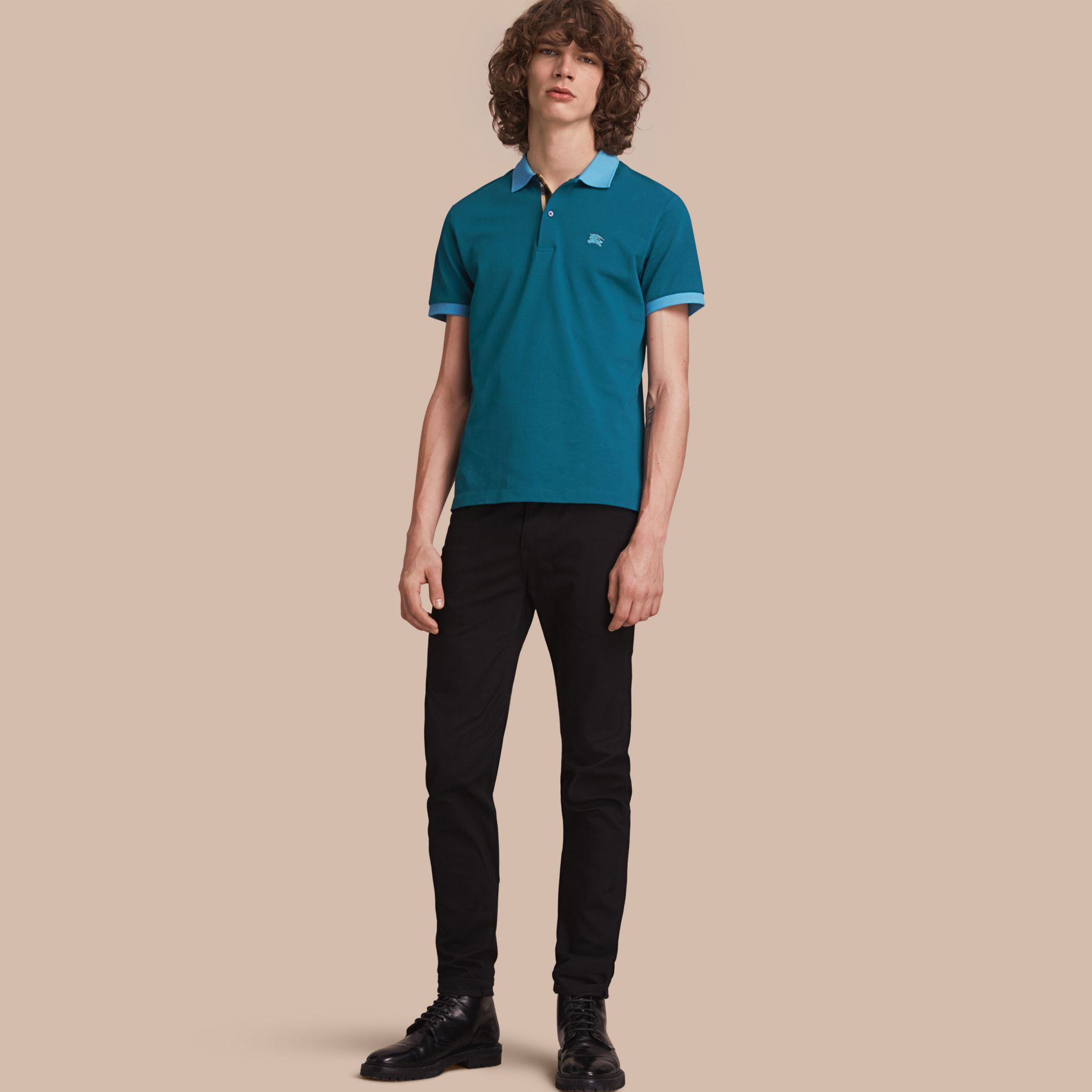 Two-tone Check Placket Cotton Piqué Polo Shirt in Mineral Blue - gallery image 1