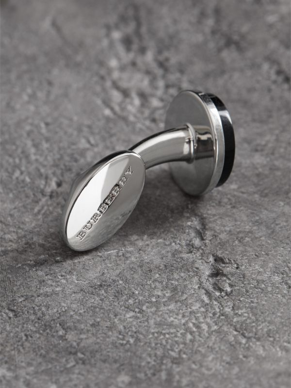 Engraved Agate Stud and Cufflink Set in Black - Men | Burberry - cell image 2