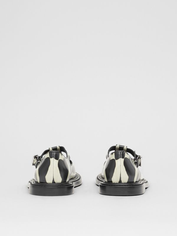 Zebra Print Leather T-bar Shoes in Black/white - Women | Burberry United Kingdom - cell image 3