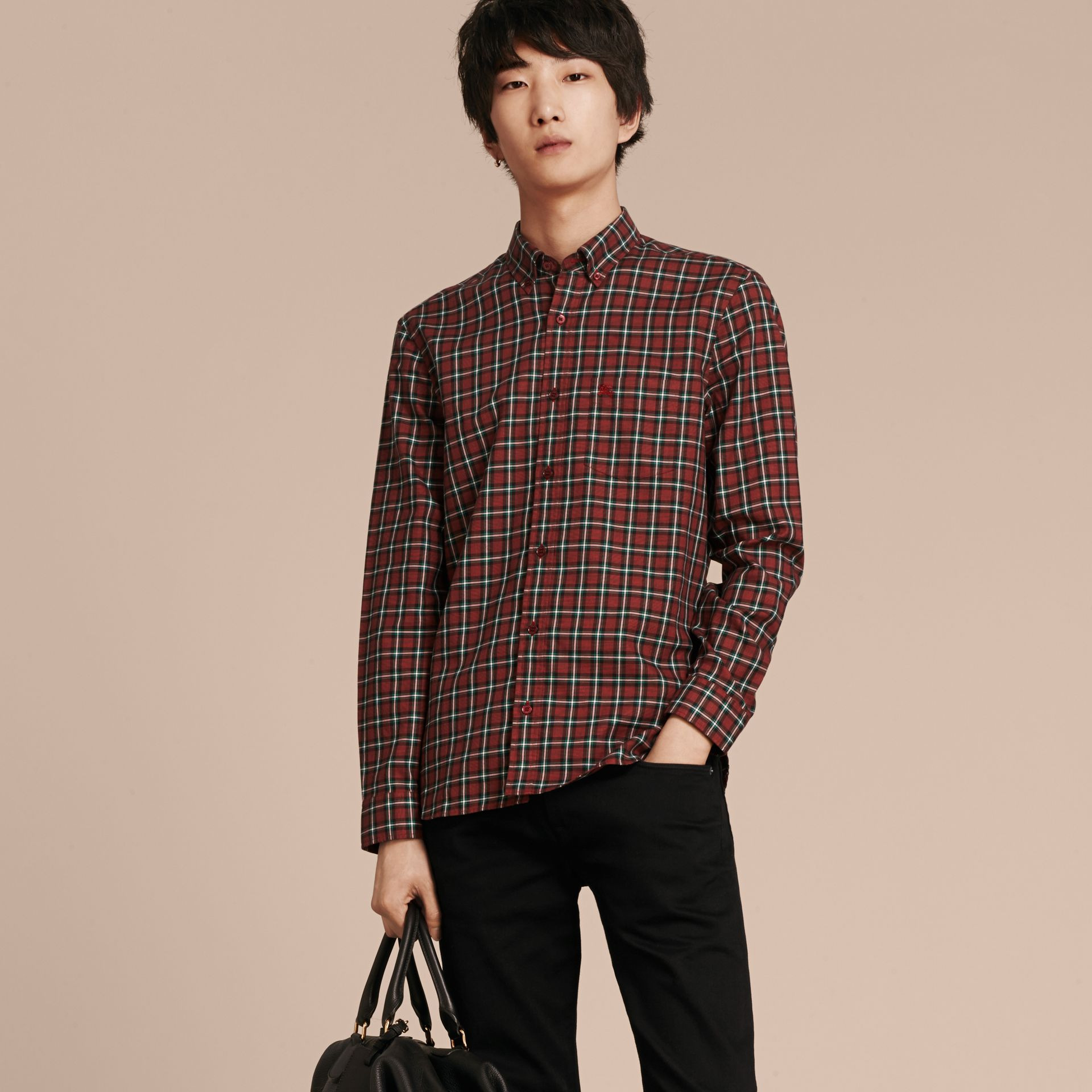 Parade red Tartan Cotton Twill Shirt Parade Red - gallery image 6