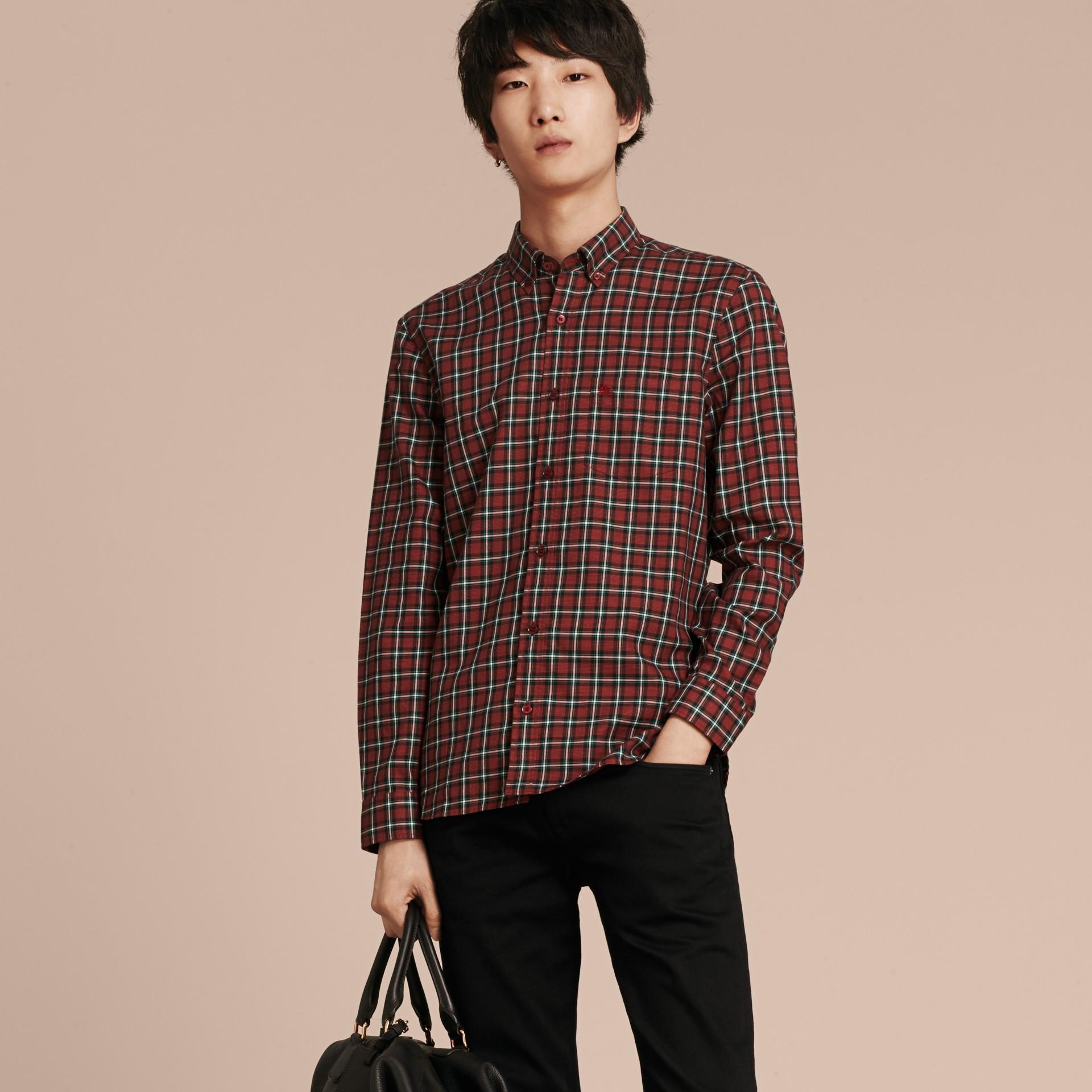 Vermelho Camisa de sarja de algodão com estampa xadrez tartã Vermelho - galeria de imagens 6