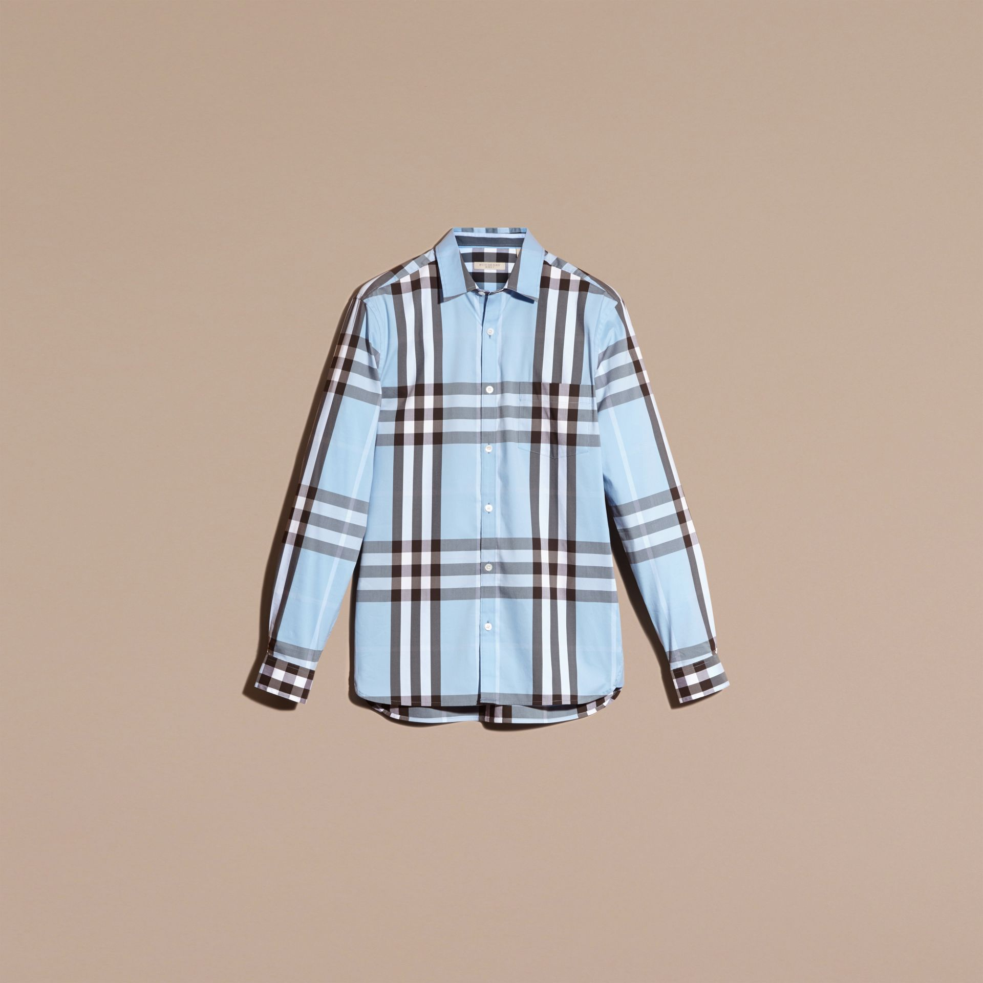 Light blue Check Stretch Cotton Shirt Light Blue - gallery image 3