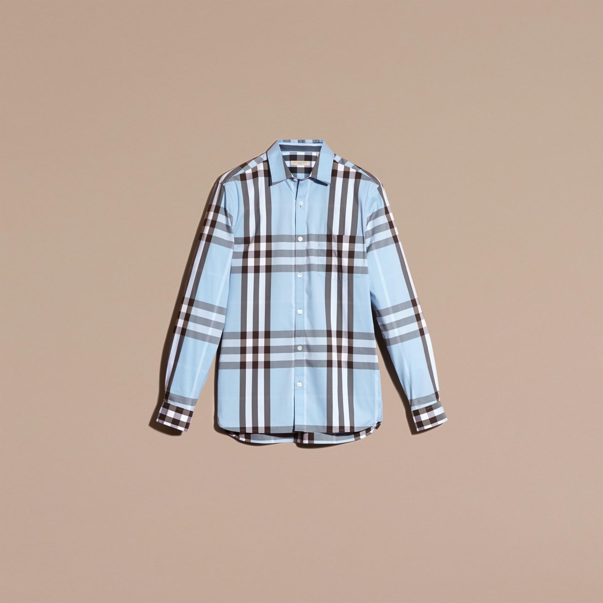 Bleu clair Chemise en coton extensible à motif check Bleu Clair - photo de la galerie 3