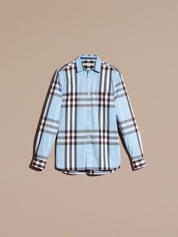 Light blue Check Stretch Cotton Shirt Light Blue - cell image 2