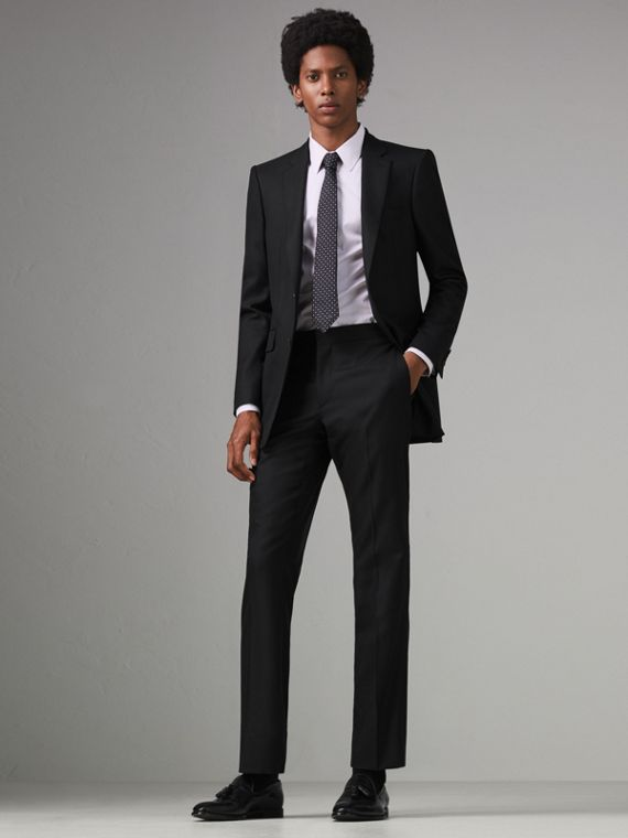 Classic Fit Wool Twill Suit in Black