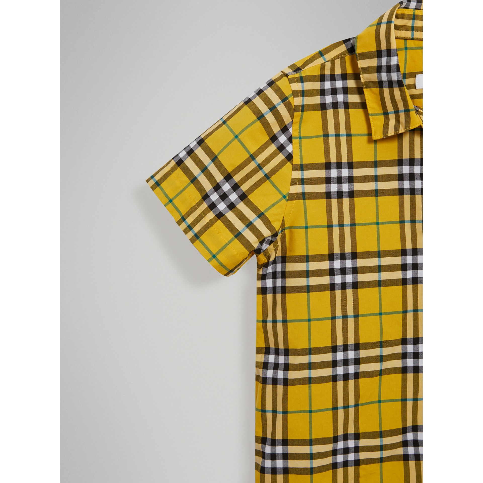 Short-sleeve Check Cotton Shirt in Bright Yellow - Boy | Burberry Australia - gallery image 4