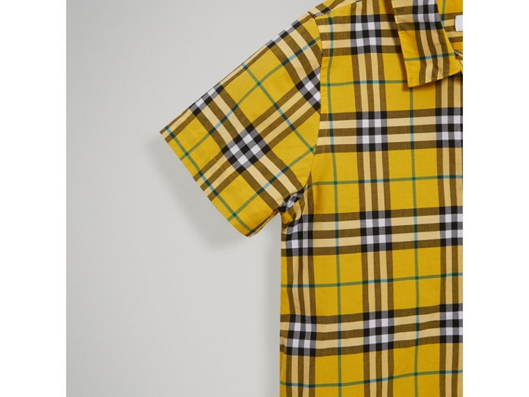 Short-sleeve Check Cotton Shirt in Bright Yellow - Boy | Burberry - cell image 4