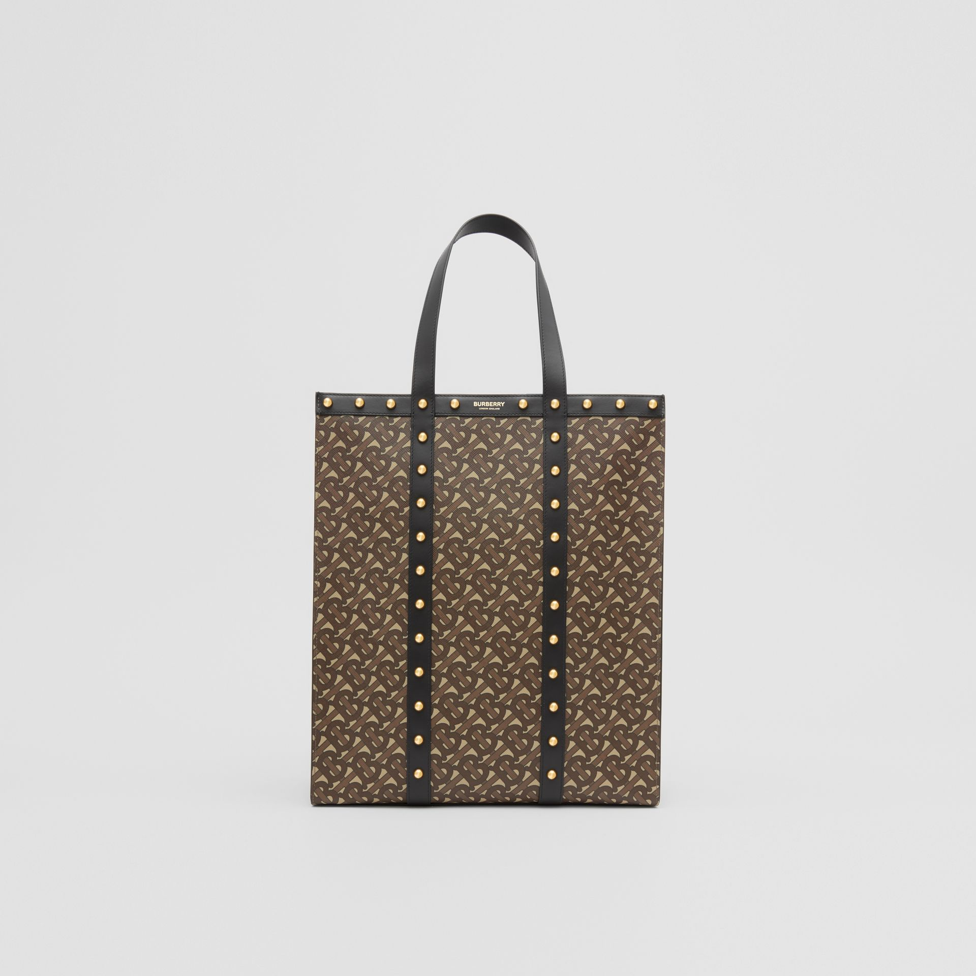 Monogram Print E-canvas Portrait Tote Bag in Black | Burberry Hong Kong S.A.R - gallery image 0