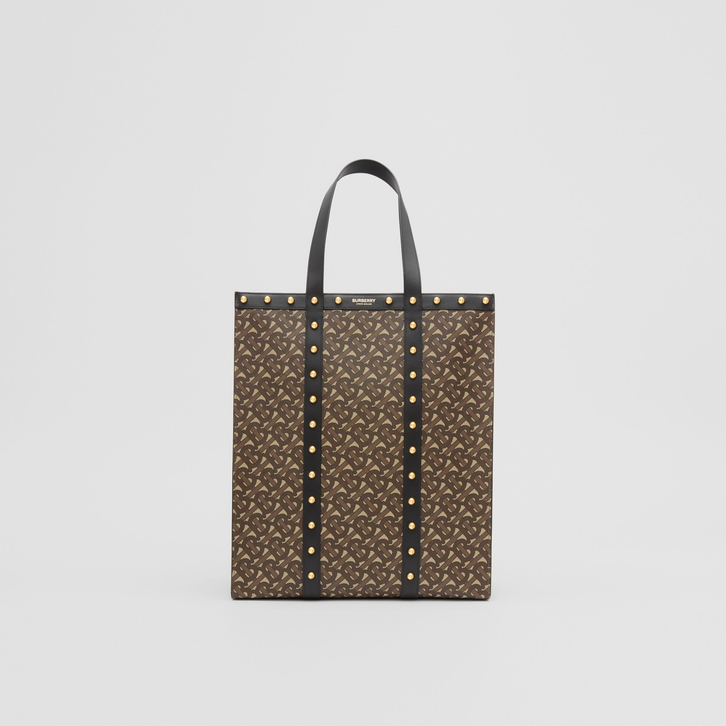Monogram Print E-canvas Portrait Tote Bag in Black | Burberry - 1