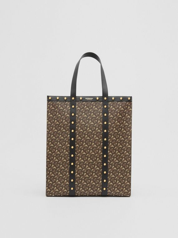 Monogram Print E-canvas Portrait Tote Bag in Black