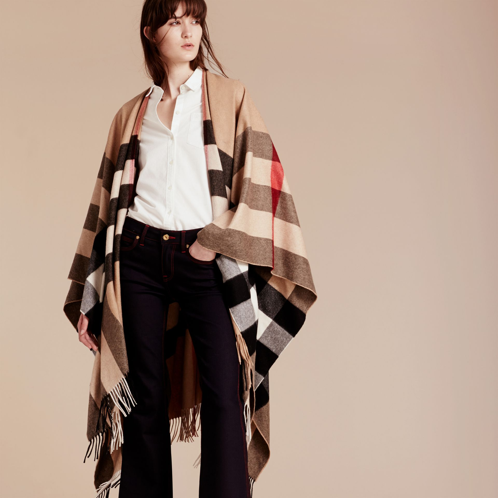 Camel Check Cashmere Poncho - gallery image 3