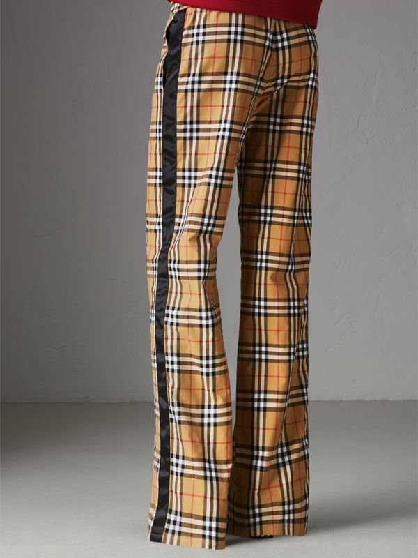 Vintage Check Drawcord Trousers in Antique Yellow - Women | Burberry Australia - cell image 2