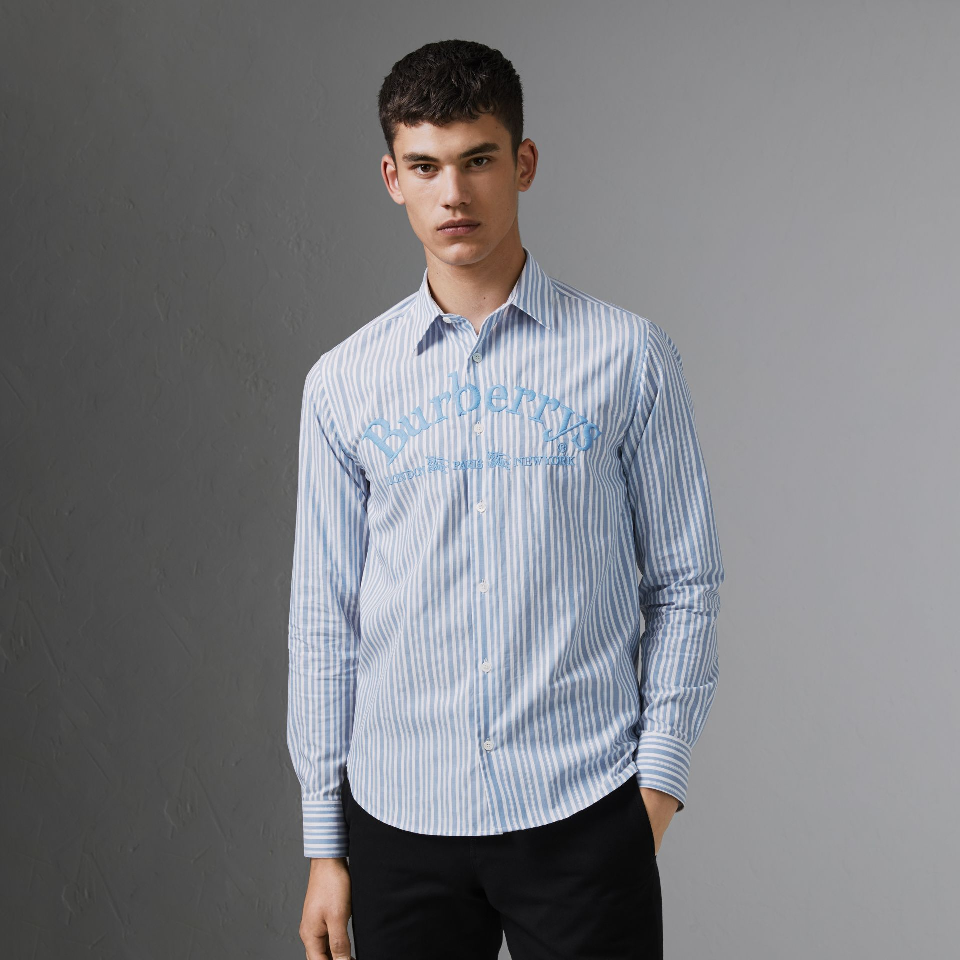 Embroidered Archive Logo Striped Cotton Shirt in Powder Blue - Men | Burberry - gallery image 0