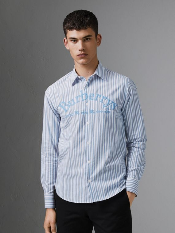 Embroidered Archive Logo Striped Cotton Shirt in Powder Blue