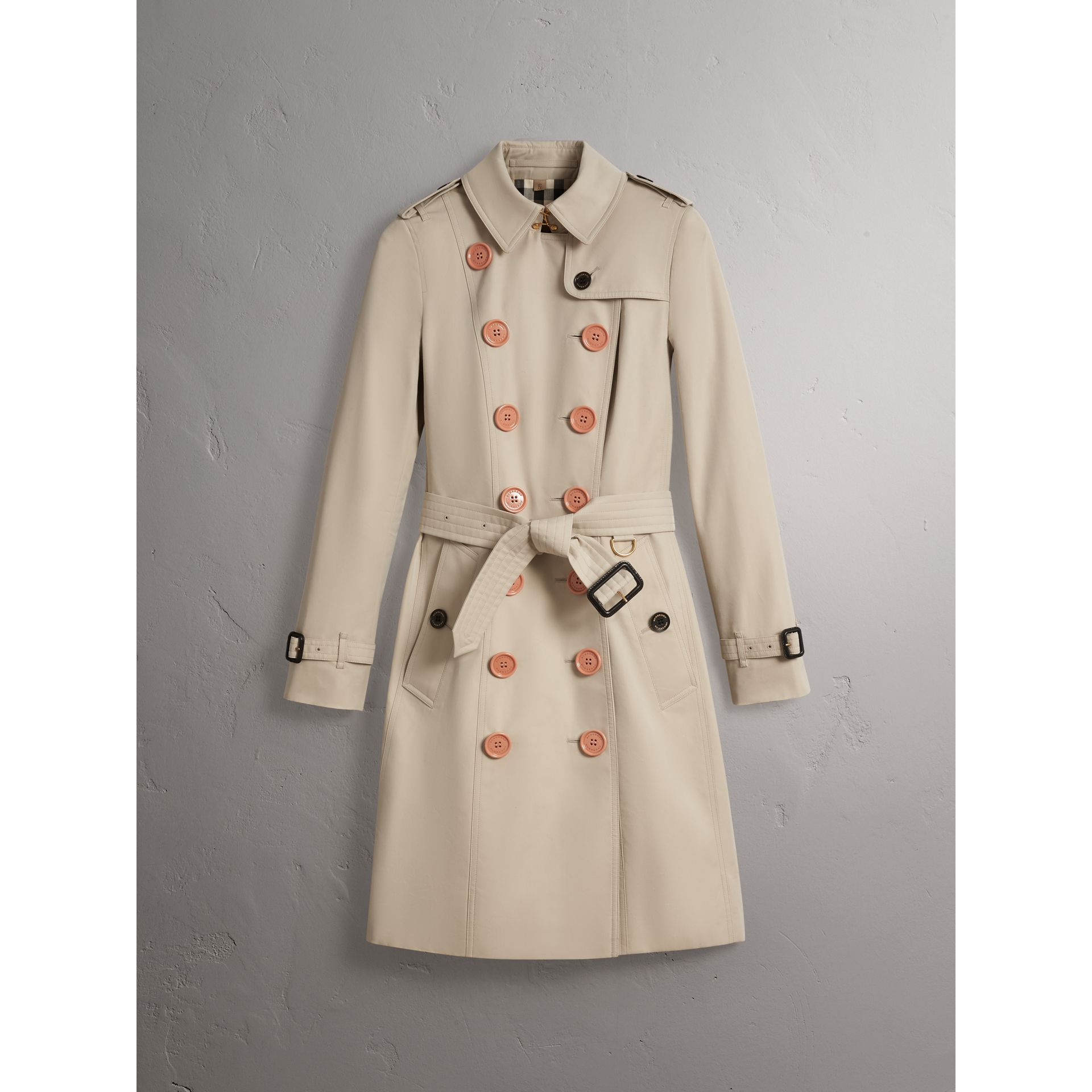 Resin Button Cotton Gabardine Trench Coat in Stone - Women | Burberry - gallery image 4