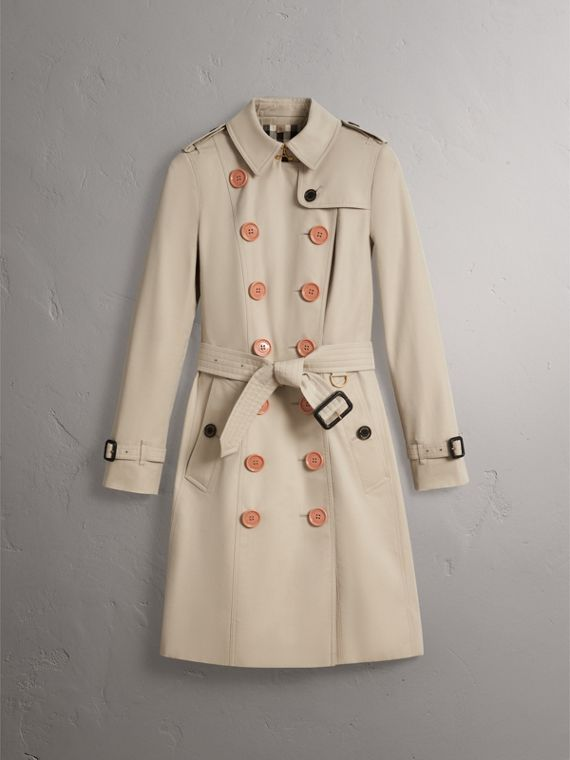 Resin Button Cotton Gabardine Trench Coat in Stone - Women | Burberry - cell image 3
