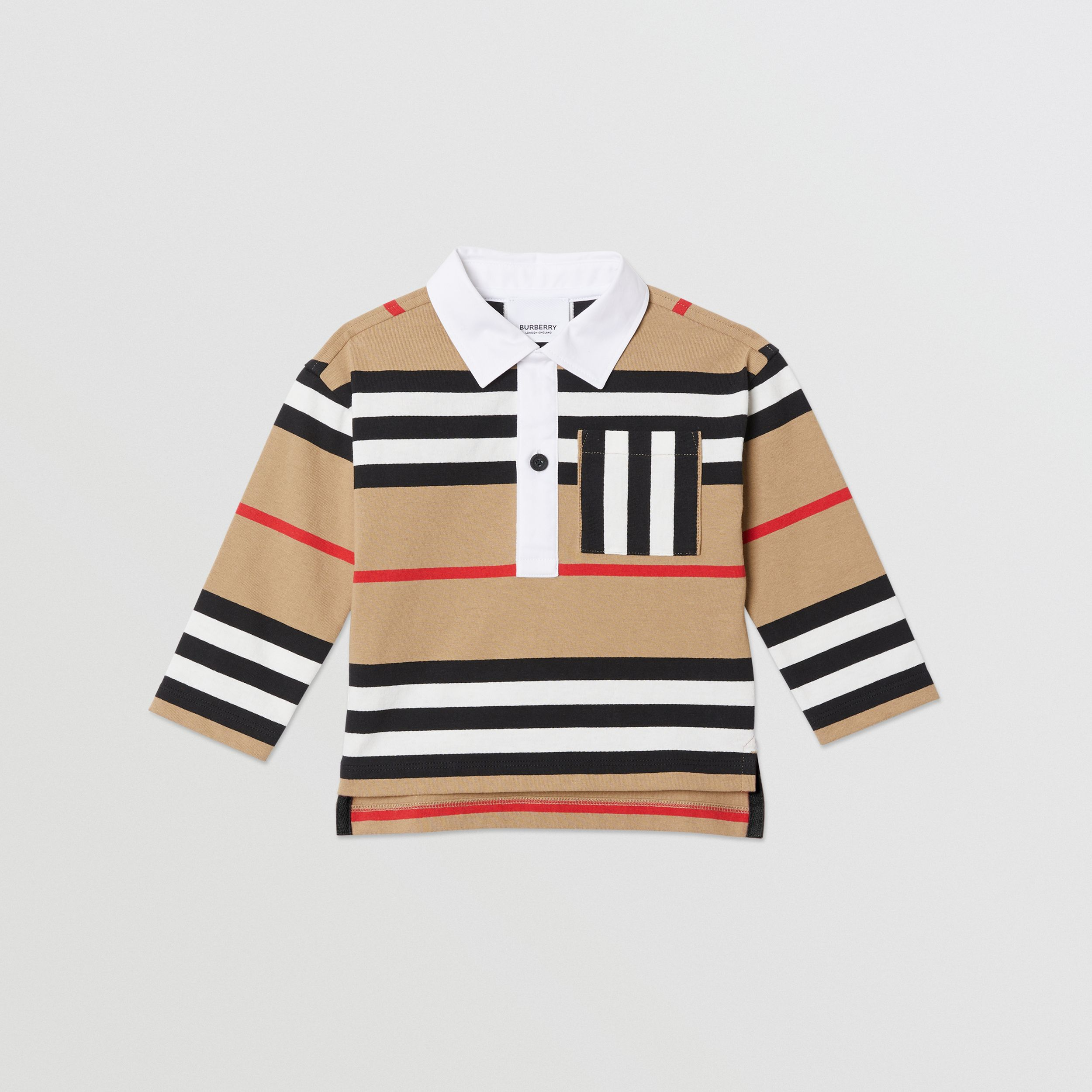 Long-sleeve Icon Stripe Cotton Top in Archive Beige - Children | Burberry United Kingdom - 1