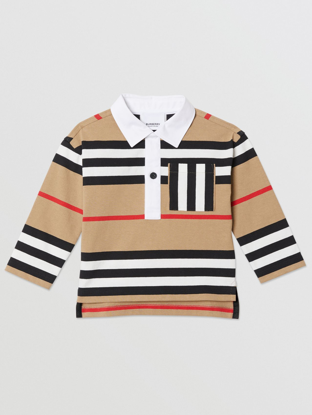 Long-sleeve Icon Stripe Cotton Top in Archive Beige