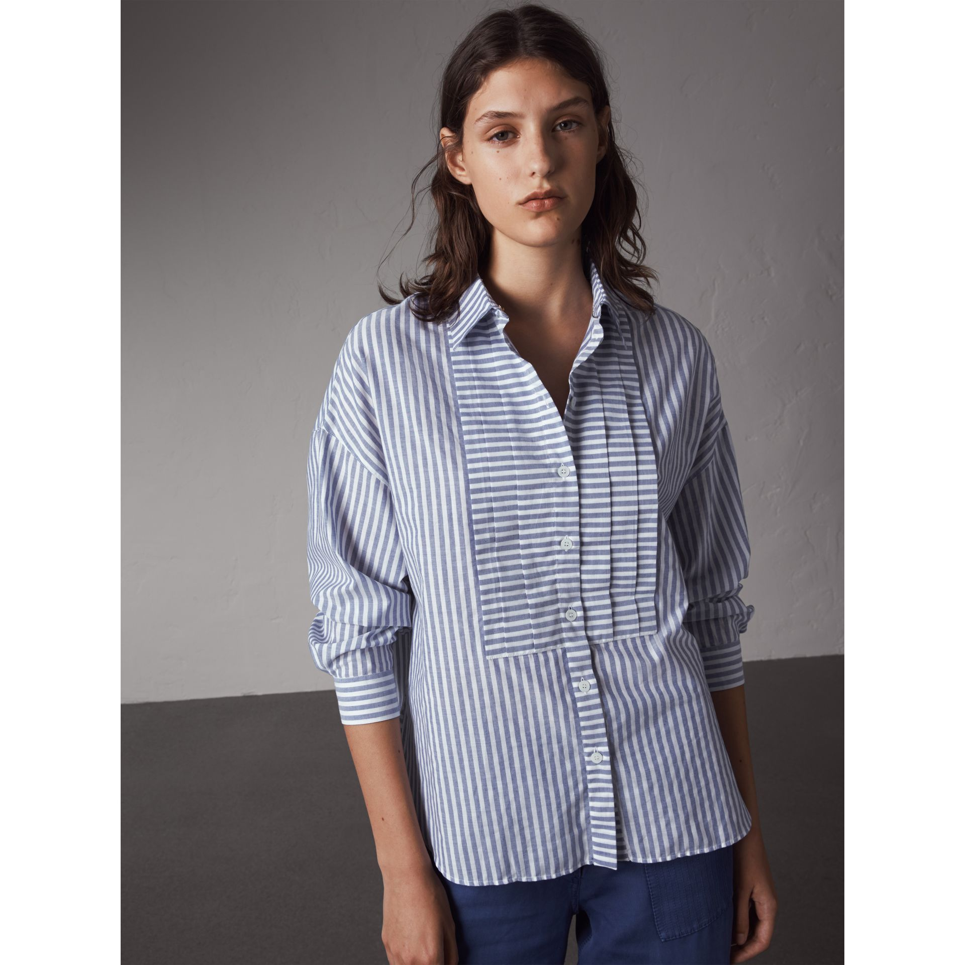 Pleated Bib Striped Cotton Shirt in Pale Blue/white | Burberry - gallery image 1