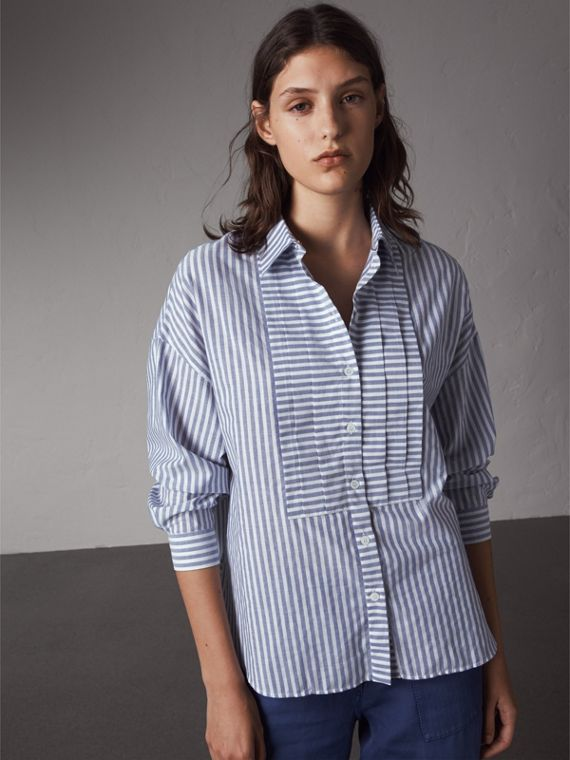 Pleated Bib Striped Cotton Shirt in Pale Blue/white