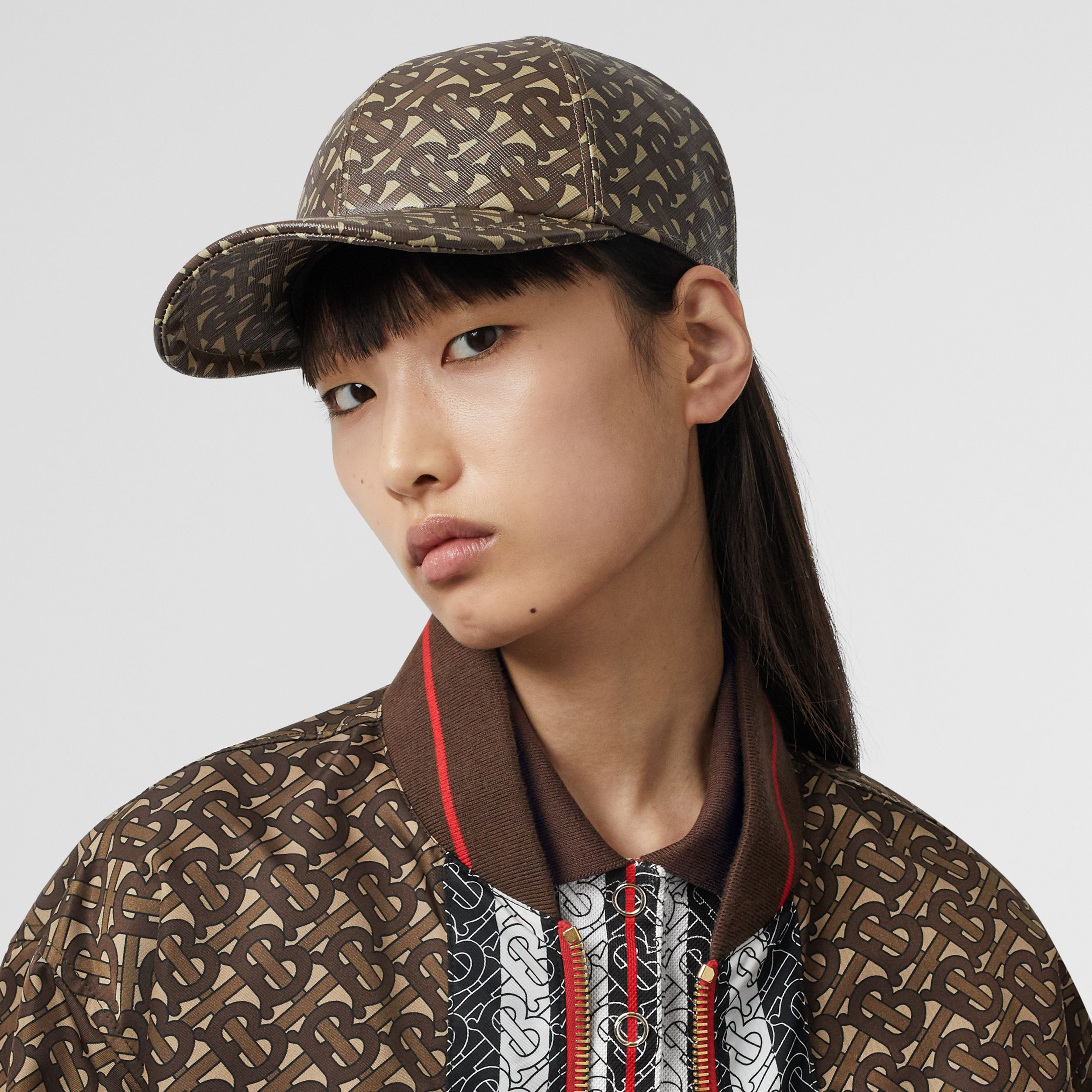 Monogram Print Baseball Cap in Bridle Brown | Burberry - 3