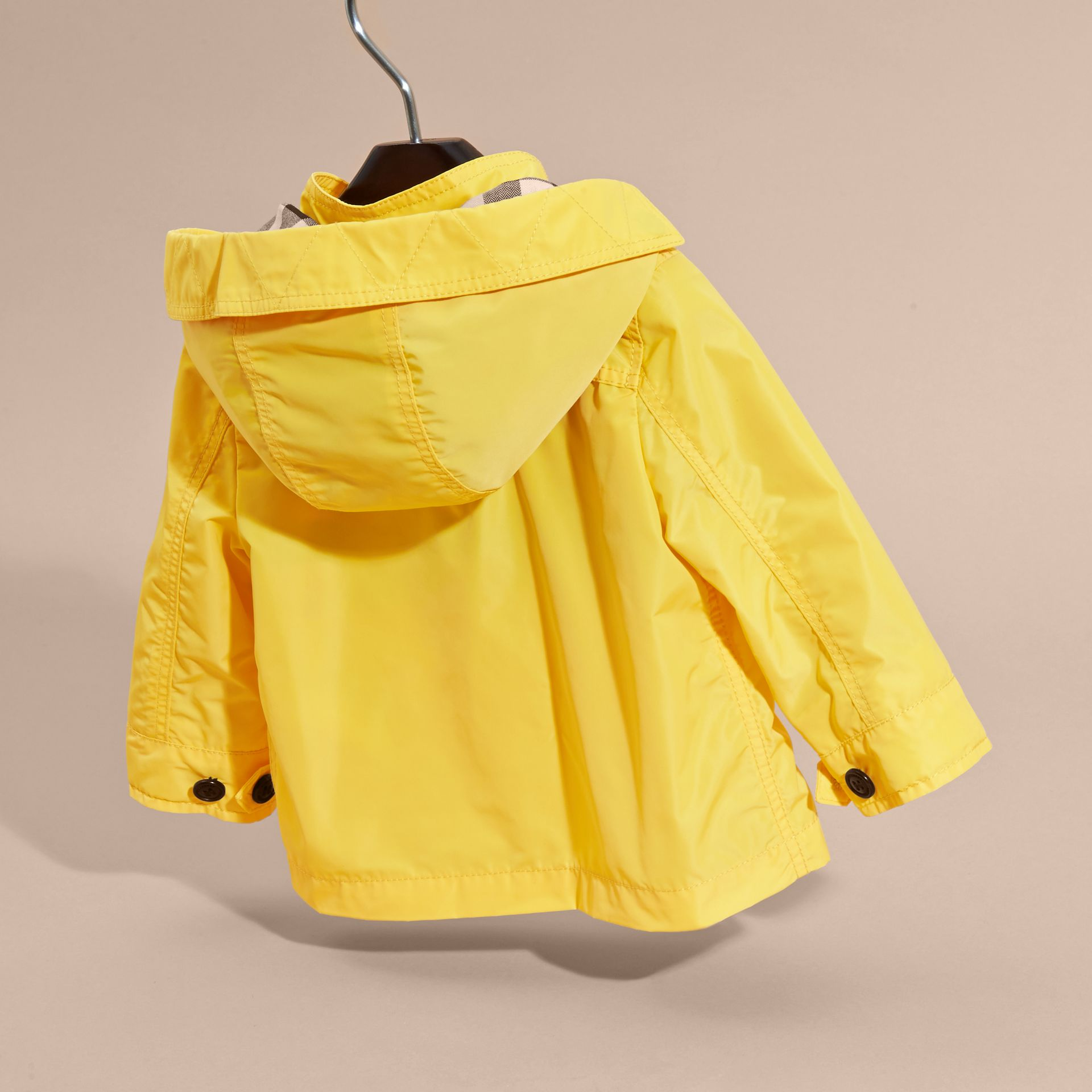 Bright yellow Hooded Technical Jacket Bright Yellow - gallery image 4