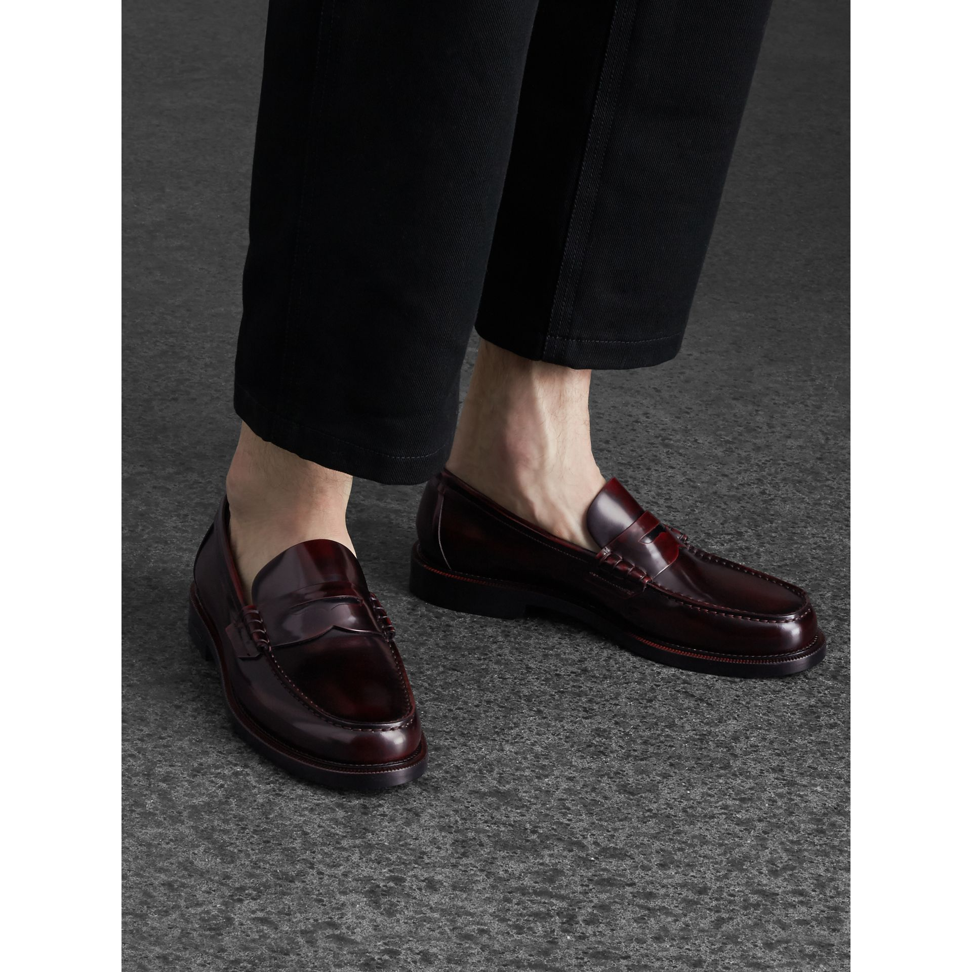 Leather Penny Loafers in Rust Red - Men | Burberry Canada - gallery image 3