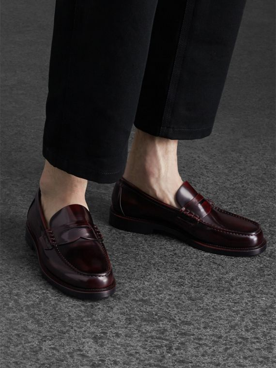 Leather Penny Loafers in Rust Red - Men | Burberry United Kingdom - cell image 2