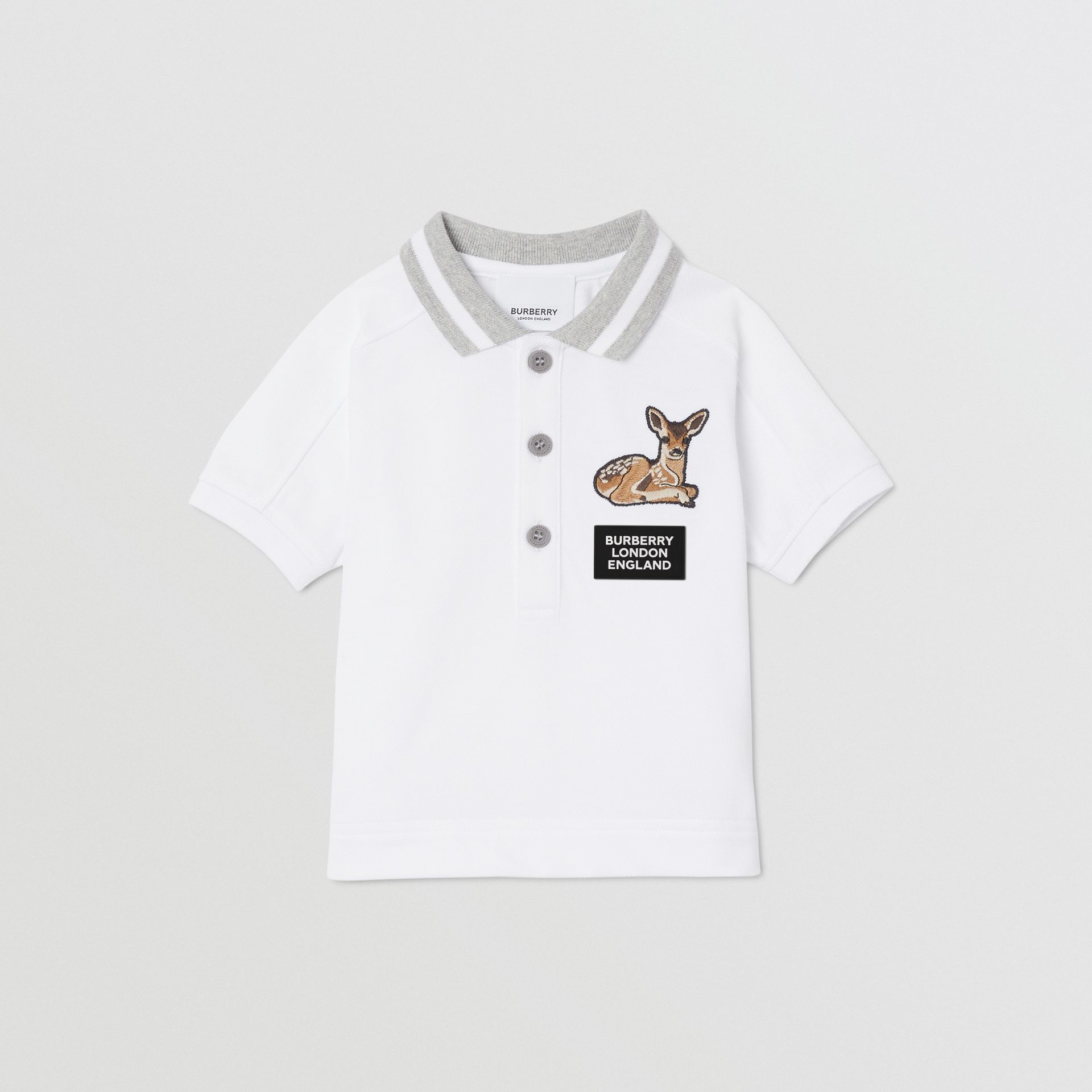 Deer Motif Cotton Polo Shirt in White - Children | Burberry Canada - gallery image 0