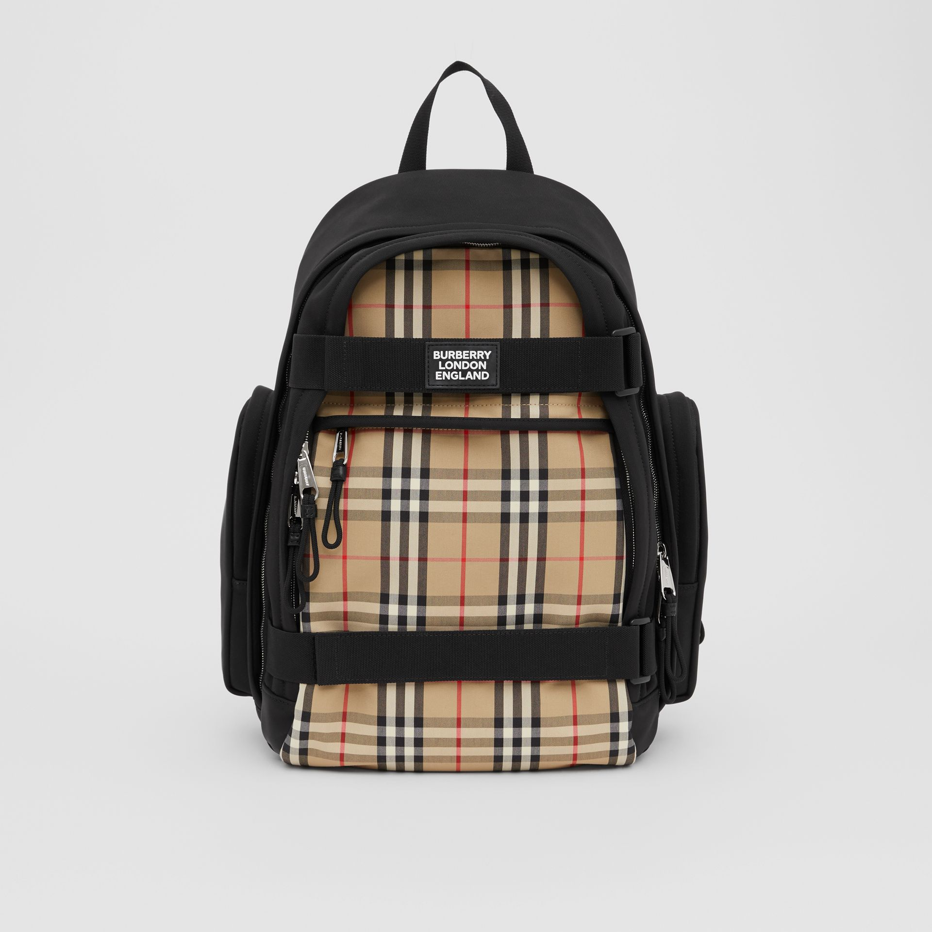Large Vintage Check Panel Nevis Backpack in Archive Beige | Burberry Canada - gallery image 0