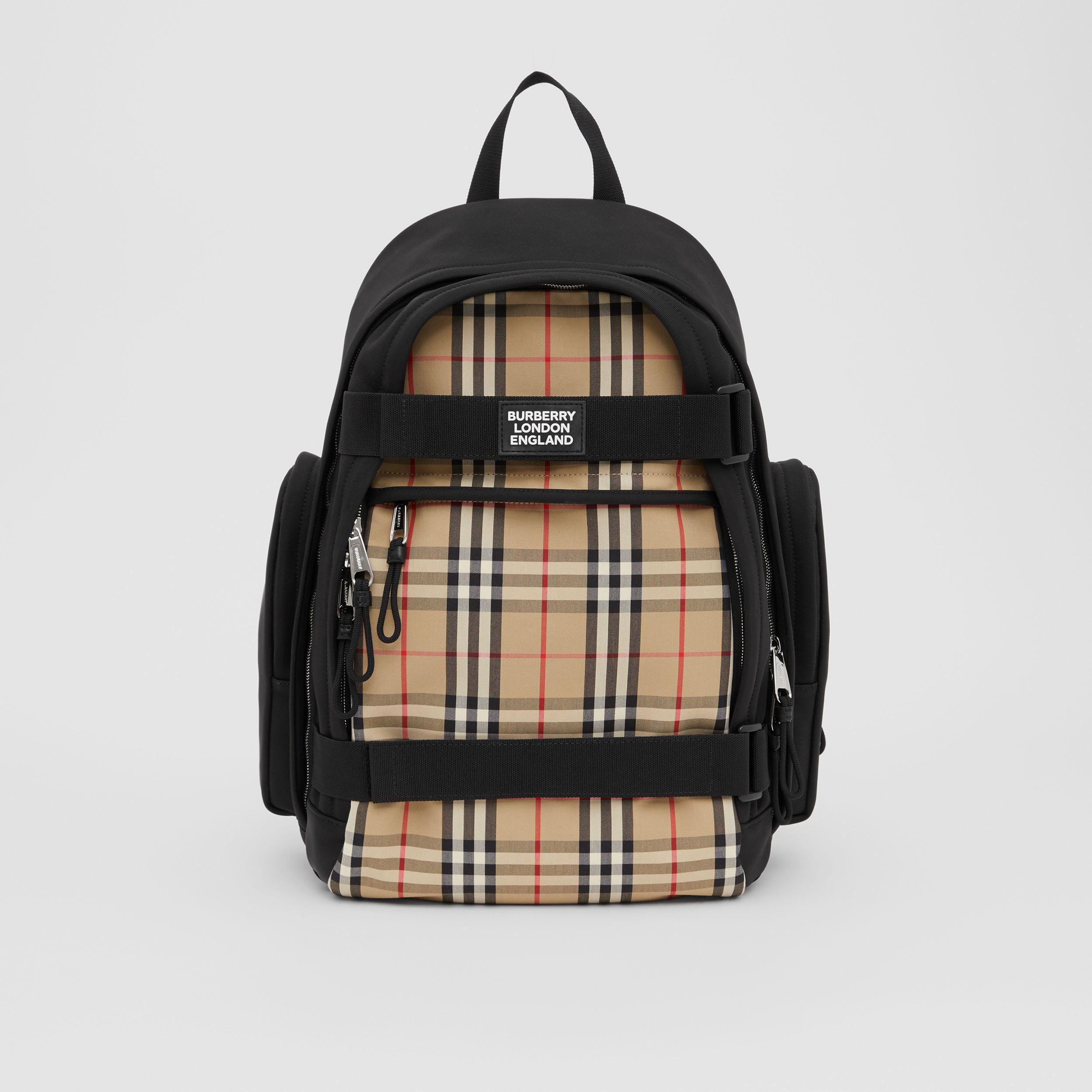 Large Vintage Check Panel Nevis Backpack in Archive Beige | Burberry - 1