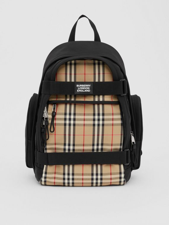 Large Vintage Check Panel Nevis Backpack in Archive Beige