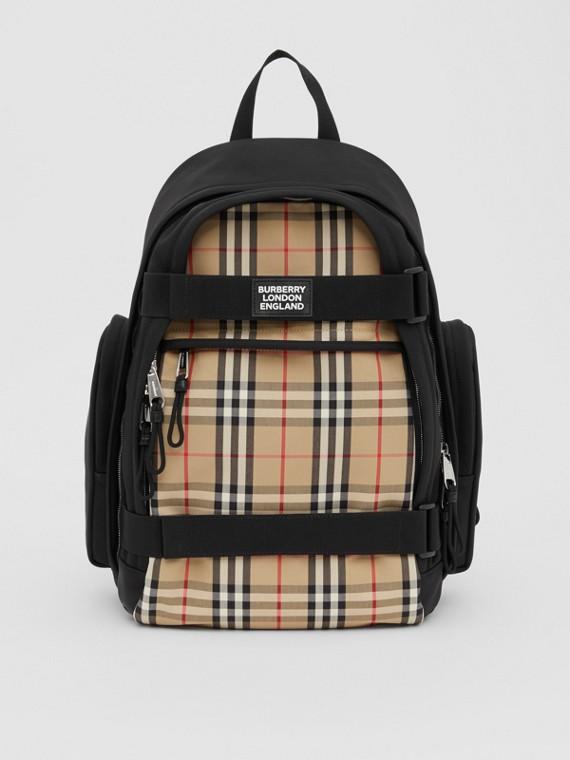 Рюкзак Nevis с отделкой в клетку, большой размер (Винтажный Бежевый)