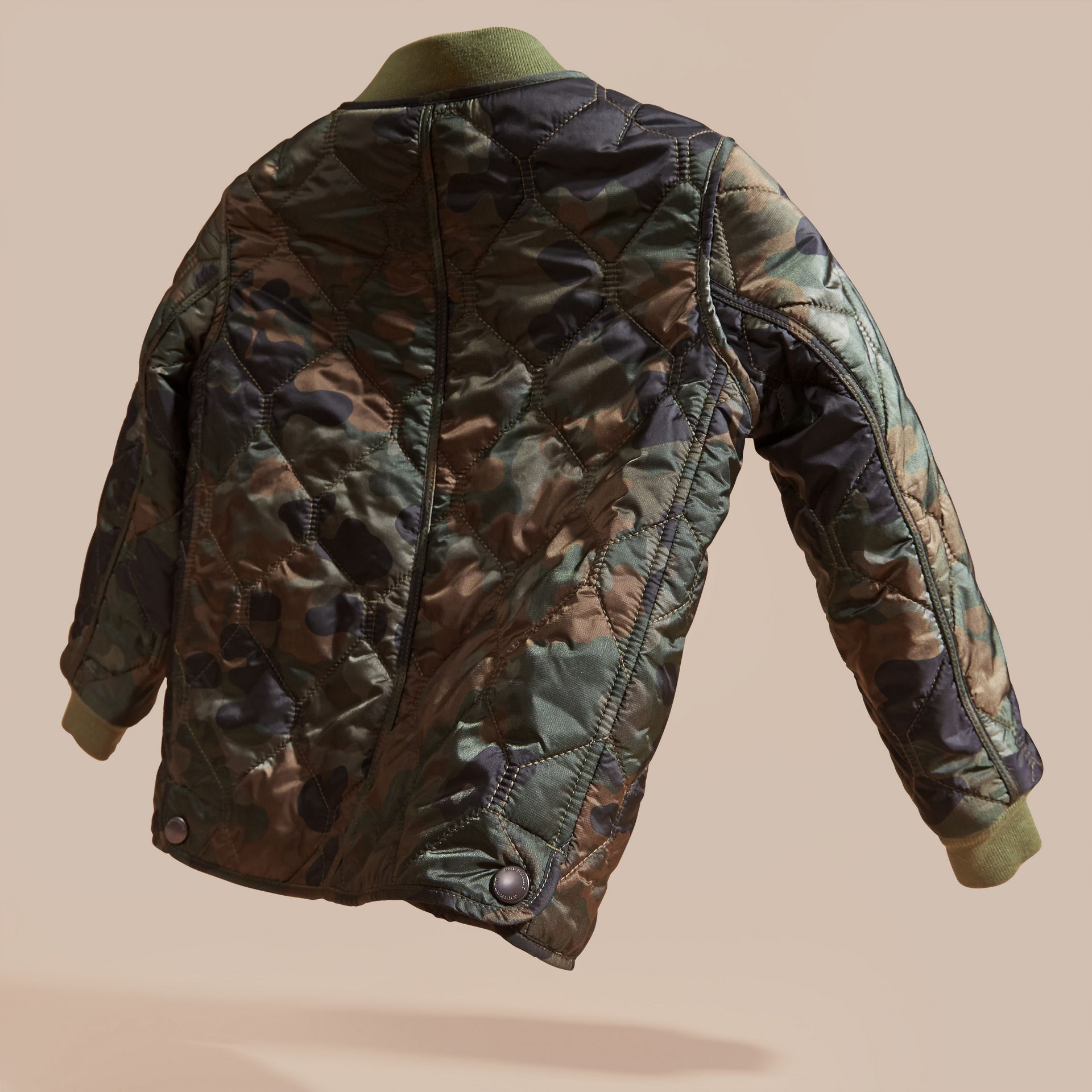 Dark cedar green Camouflage Quilted Nylon Bomber Jacket - gallery image 4