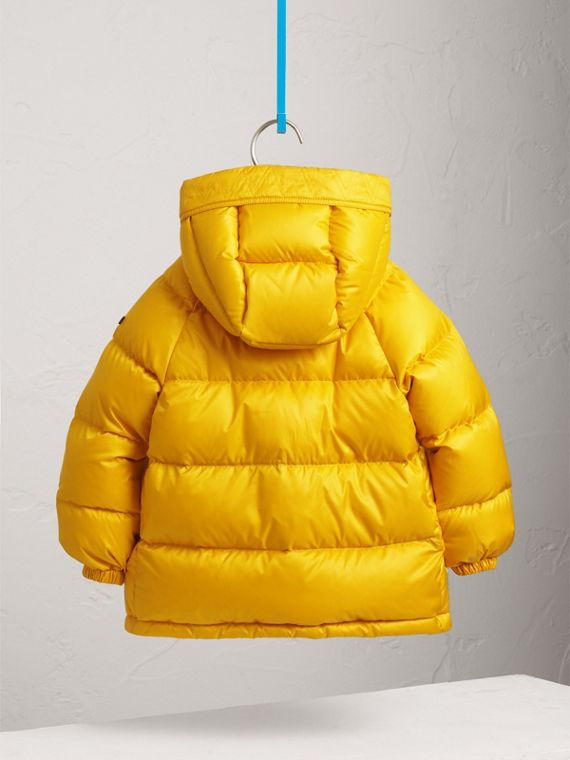 Shower-resistant Hooded Puffer Jacket in Larch Yellow - Boy | Burberry - cell image 3