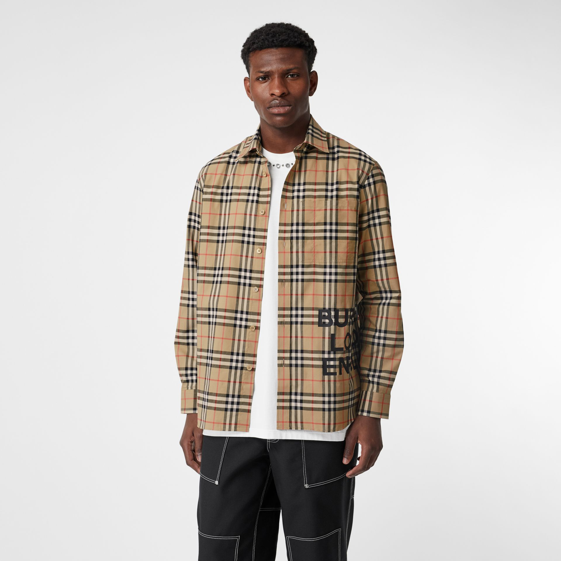 Logo Print Check Cotton Oversized Shirt in Archive Beige - Men | Burberry - gallery image 4