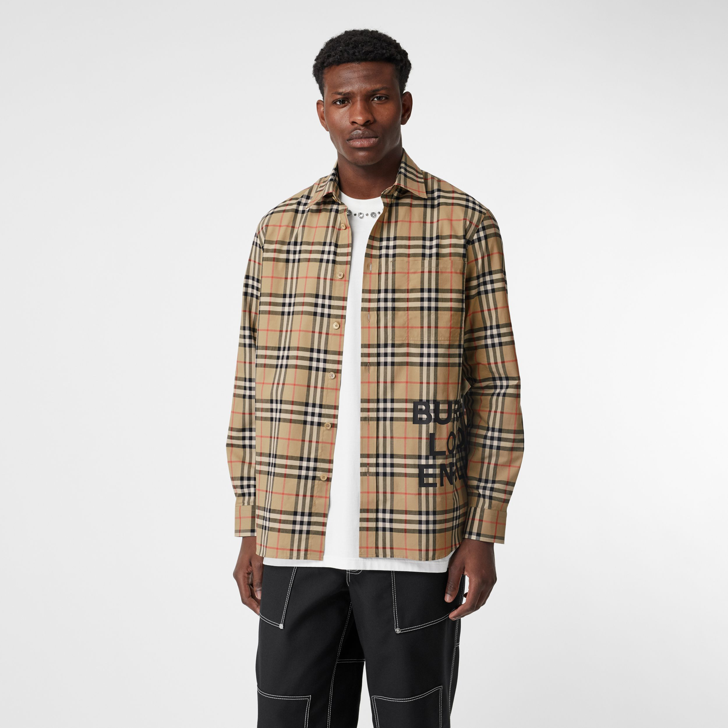 Logo Print Check Cotton Oversized Shirt in Archive Beige - Women | Burberry United States - 1