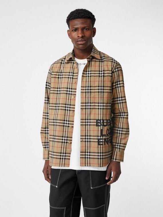 Logo Print Check Cotton Oversized Shirt in Archive Beige