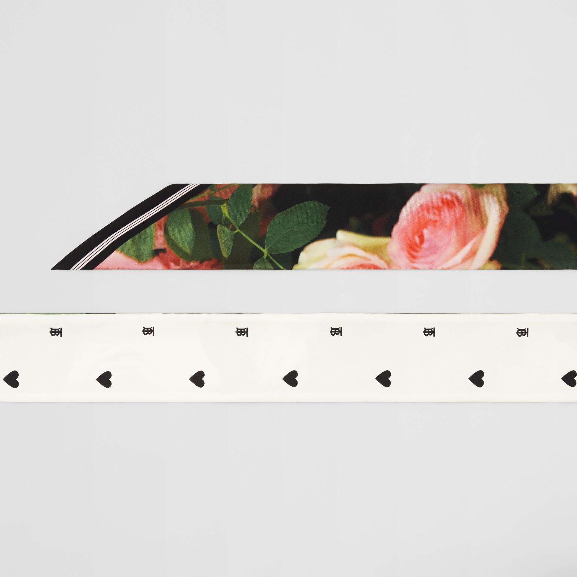 Floral Print Silk Skinny Scarf in Rose Pink | Burberry - gallery image 1