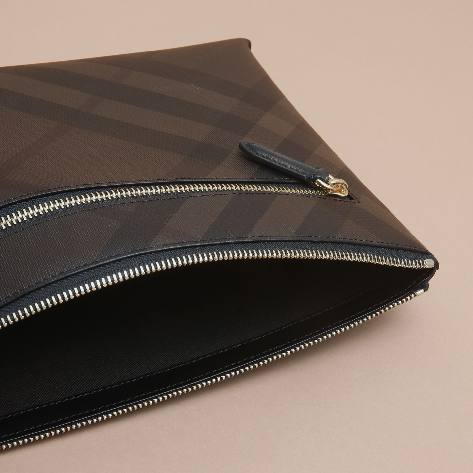 Large London Check Zip Pouch in Chocolate/black - gallery image 5