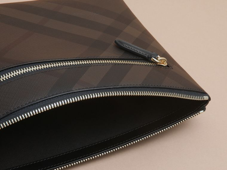 Large London Check Zip Pouch in Chocolate/black - Men | Burberry - cell image 4