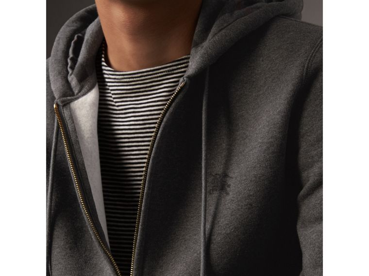 Hooded Cotton Jersey Top in Charcoal Melange - Men | Burberry - cell image 1
