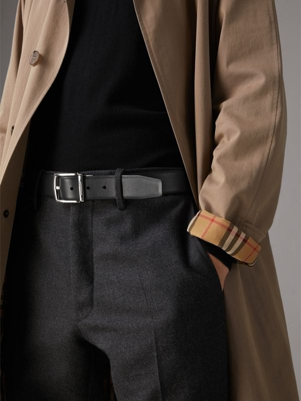 Reversible London Leather Belt in Burgundy Red/black - Men | Burberry Australia - cell image 3
