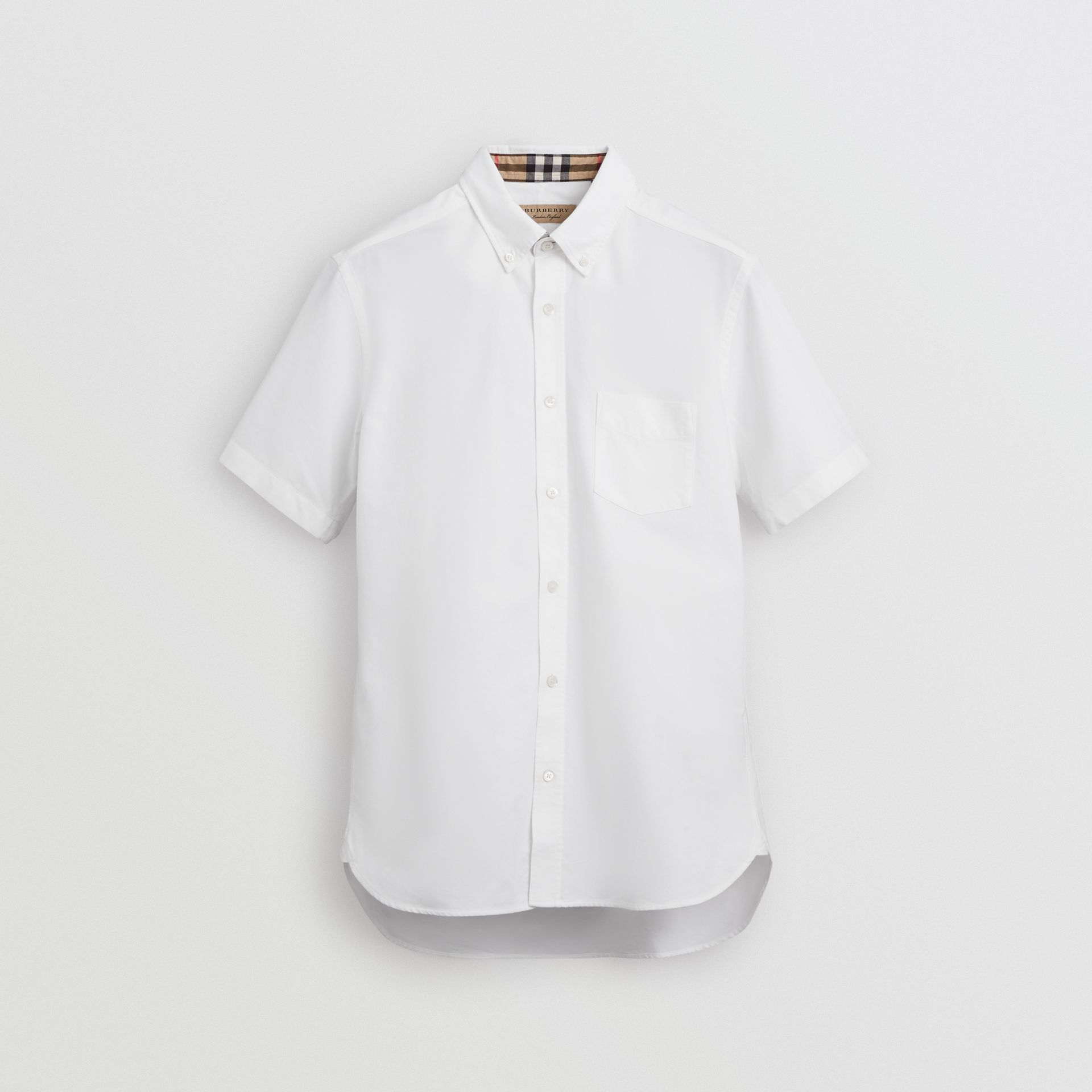 Short-sleeve Cotton Oxford Shirt in White - Men | Burberry Australia - gallery image 3